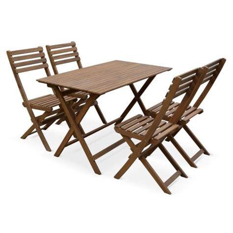 table pliante jardin table de jardin en bois 120x70cm madrid table bistrot pliante rectangulaire en acacia avec 4