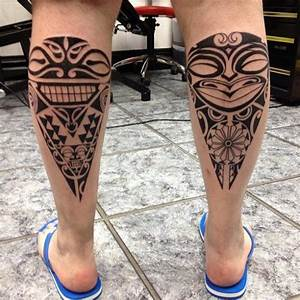 Calf Tribal Maori Tattoo by Alans Tattoo Studio