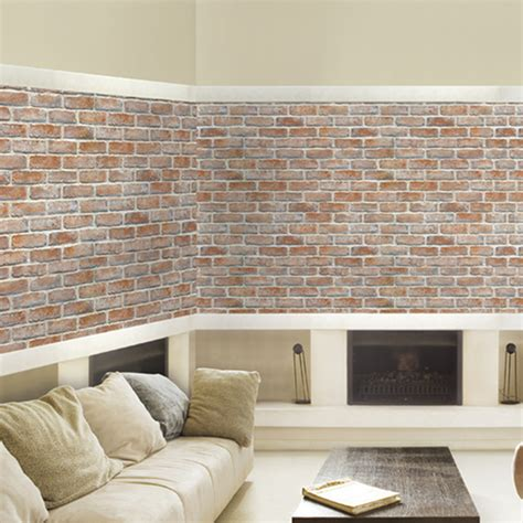 white light brown brick  adhesive wallpapers