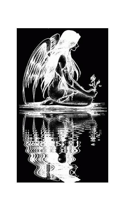 Angel Silhouette Angels Animated Demon Reflection Gifs