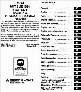 2004 Mitsubishi Galant Body Manual Original
