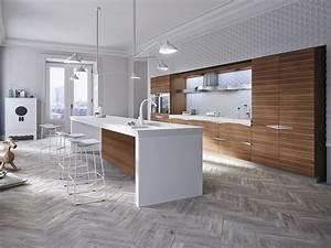 cuisine integree en noyer avec ilot time by snaidero With cuisine design italienne avec ilot