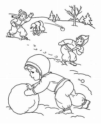 Coloring Winter Activities Outdoor Season Childrens Pages