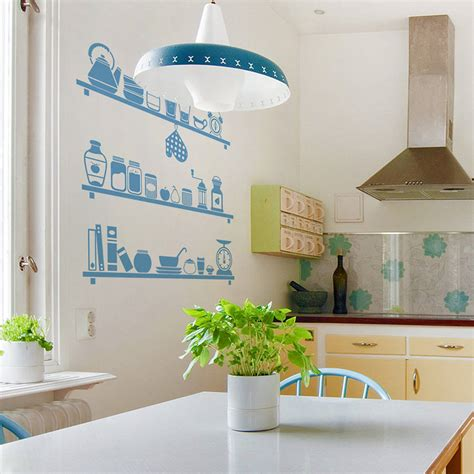 sticker de cuisine scandinavian kitchen shelves wall sticker by sirface