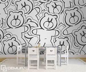 calin de l39ours papier peint pour la chambre d39enfant With affiche chambre bébé avec support fleur mural