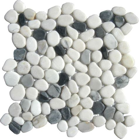 Tandus Flooring Pebble Mesh by Ms International Black White Pebbles 12 In X 12 In X 10