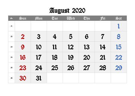august calendar   printable template
