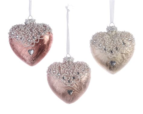 12 x pale pink ivory glass heart shape christmas tree