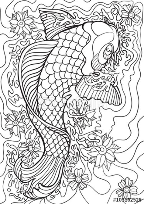 adult coloring book illustration tattoo set koi