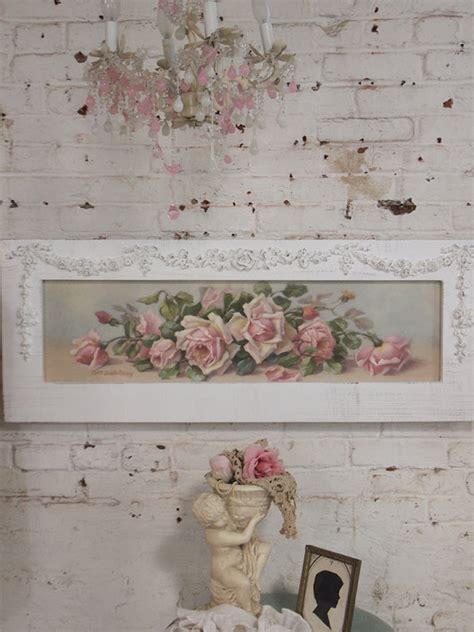 shabby chic pictures prints painted cottage chic shabby romantic rose canvas print hd60