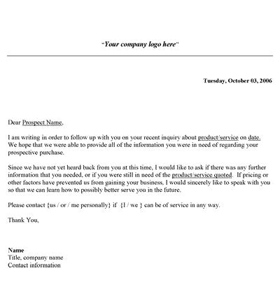 follow up letter sales follow up letter template 60812
