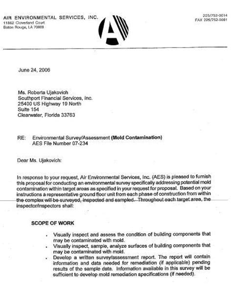 request  mold inspection letter katys exposure