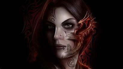 Fantasy Tattoo Dragon Gothic Woman Desktop Wallpapers