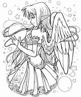 Coloring Fairy Adult Anime Adults sketch template