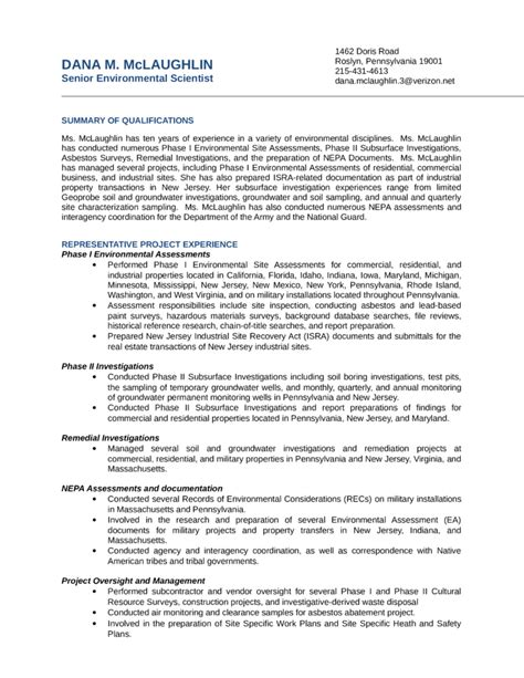 Environmental Science Resume Sle by Clean Environmental Scientist Resume Template