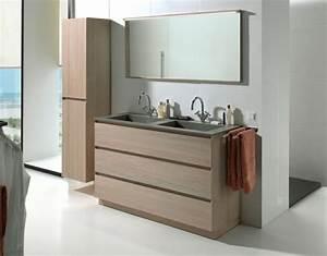 Meuble Salle De Bain Bois Gris : meuble de salle de bain couleur taupe 1 salle de bain ~ Edinachiropracticcenter.com Idées de Décoration