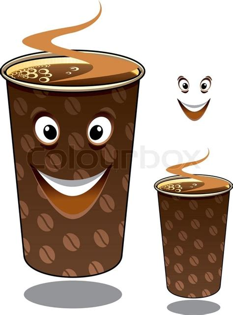 Two cartoon takeaway coffees in mugs decorated with coffee beans and hot steam, one with a happy