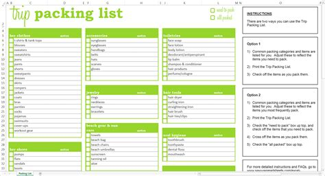 packing list template  excel templates