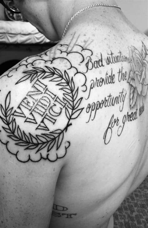 Veni, Vidi, Vici I came, I saw, I conquered, tattoo