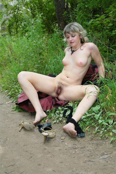 Hairy Russian Mature In Stockings Undressing At Public