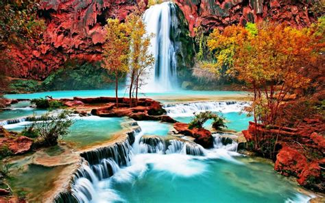 beautiful nature wallpaper  waterfall  autumn forest