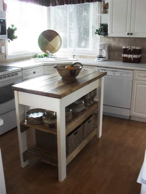 small kitchen island table  butcher block tops   bottom shelves kitchen space saving