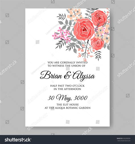 red rose wedding invitation vector template stock vector