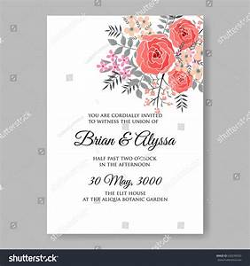red rose wedding invitation vector template stock vector With red rose wedding invitations template