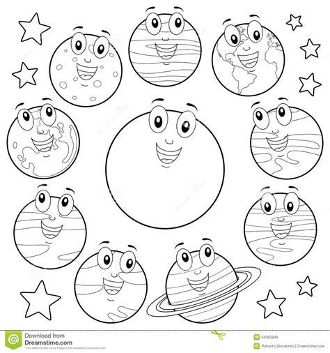 coloring cartoon planets  sun moon stock vector