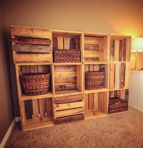wood crate wall shelving   reclaimed wooden