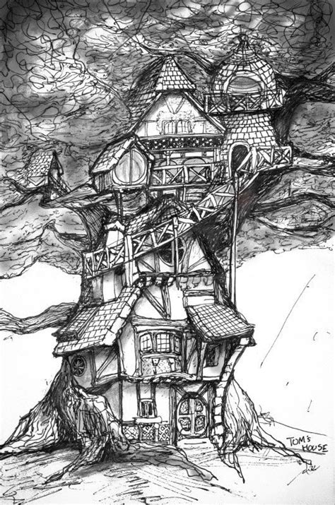 toms house concept sketch    art print