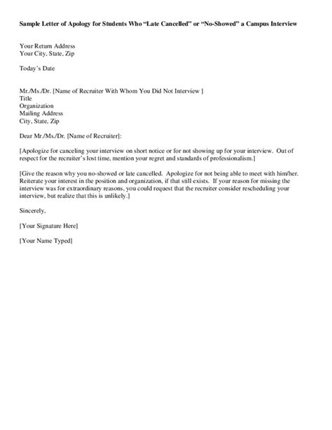Sample Letter of Apology for Students Free Download