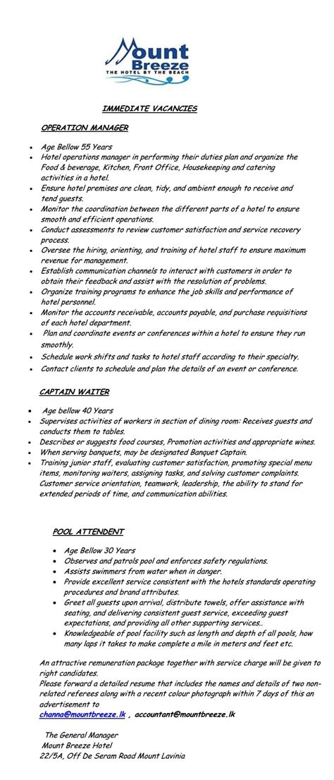 Banquet Captain Duties Resume by Of Professional Resume Learner Resume Tips