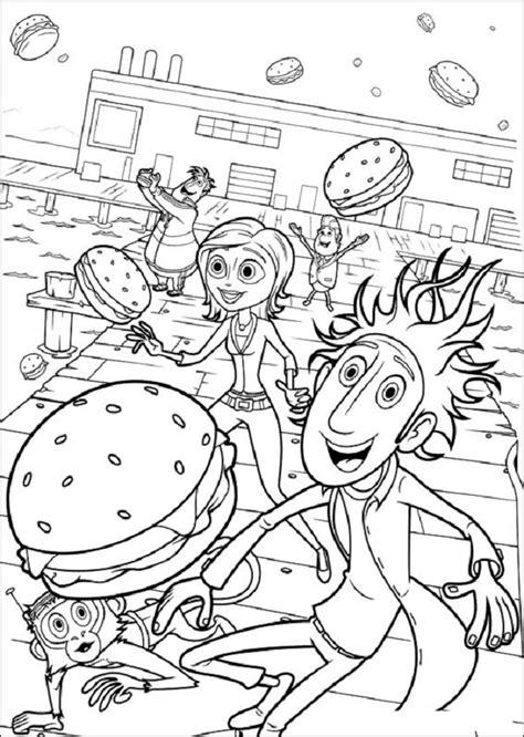 dibujos  colorear lluvia de hamburguesas dibujos