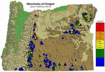 Oregon Mountains Map Mountain Ranges Physical Mt