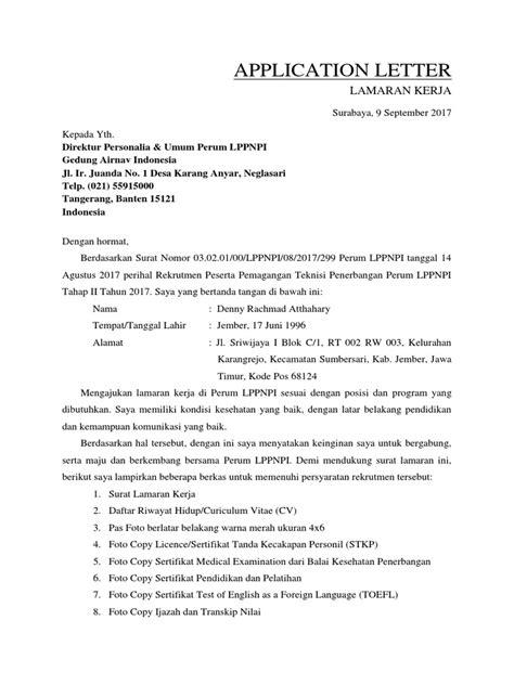 Surat Lamaran Pekerjaan Docx by 1 Surat Lamaran Pekerjaan
