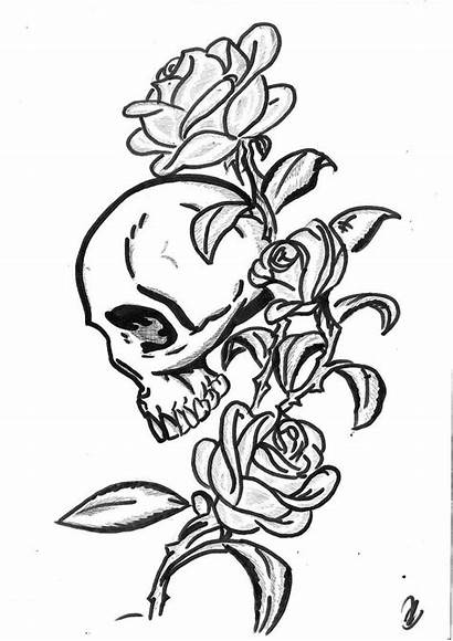 Skull Gothic Tattoo Roses Outline Stencil Tattoos