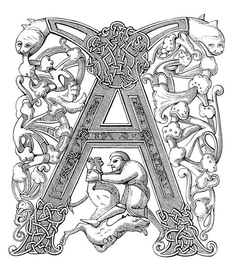 Carolingian Initial A - Old Book Illustrations