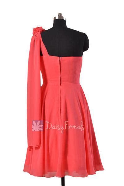 asymmetrical  shoulder chiffon bridesmaid dress short