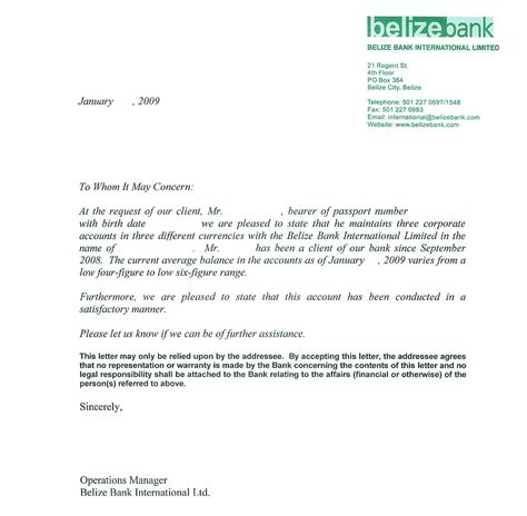 personal bank reference letter sample  belize bank