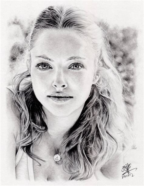 Pencil Portrait Of Amanda Seyfried By Chaseroflight On