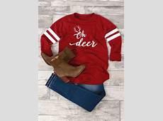 Christmas Oh Deer Striped TShirt Fairyseason