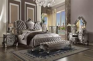 Versailles Bed Upholstered Antique Platinum Finish ACME