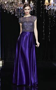 Gorgeous High Neck Cap Sleeve Regency Purple Satin Lace ...
