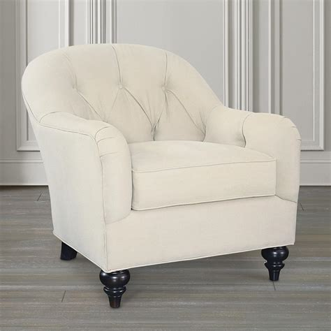 tufted fabric accent chair with half moon ottoman