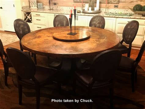 copper top dining table care large round copper top dining table oak wood pedestal
