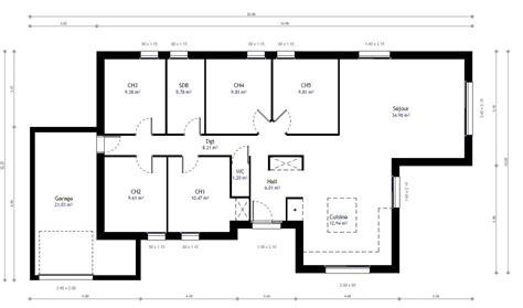 maison plain pied 5 chambres plan maison individuelle 5 chambres 79 habitat concept