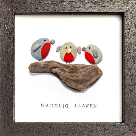 christmas robin handmade pebble art christmas gift bodoli