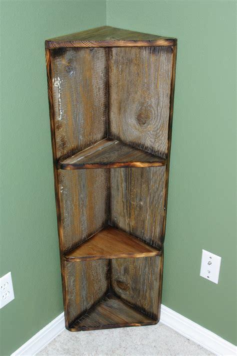 Wood Corner Bookshelf by Reclaimed Rustics Barn Wood Corner Shelf