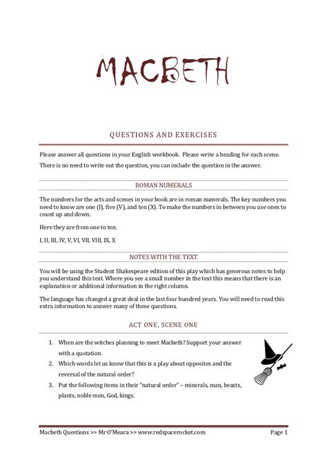 macbeth worksheets and answers macbeth comprehension questions